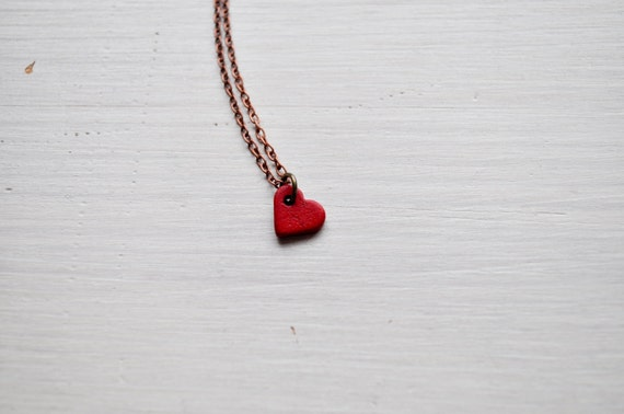 tiny red heart -necklace (red ceramic charm and vintage bronze chain minimal discreet neckpiece)