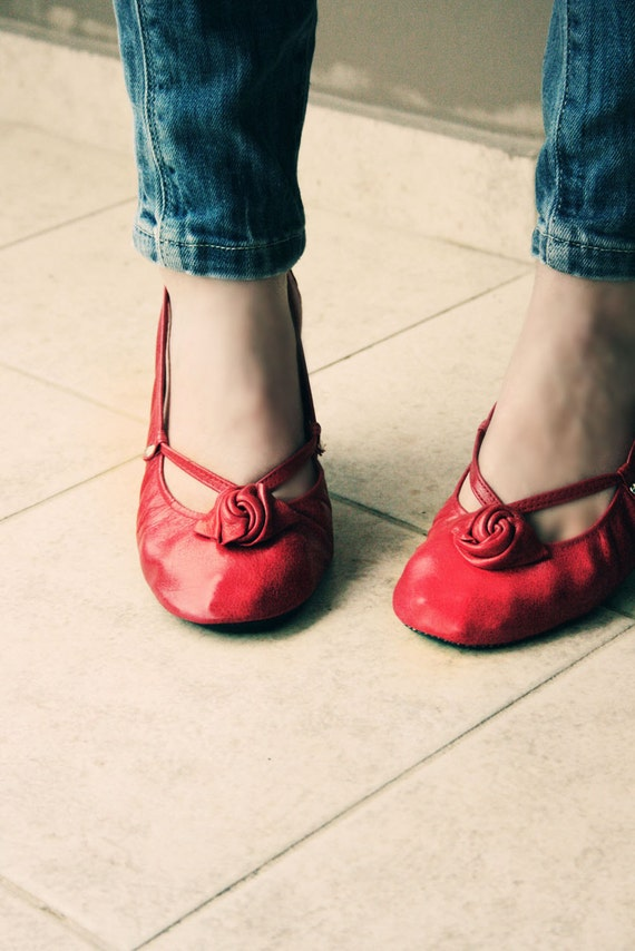 Red Alert - Handmade Leather ballet flat shoes - CUSTOM FIT