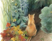"Orange cat in a garden - Art Reproduction (Print) - ""Curiosity"" - CaryeVDPMahoney"