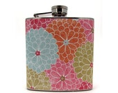 Full of Flowers 6 or 8 oz  Flask with Funnel and Tote Bag