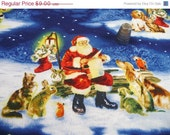 Christmas Fabric Santa Clause Cats Dogs Animals Trees Blue