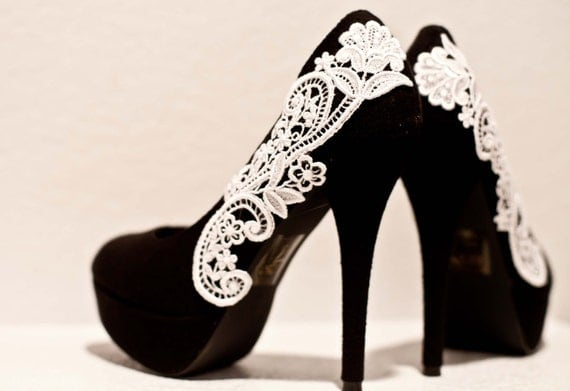 Black Pumps with White Venise Lace ... Size 6
