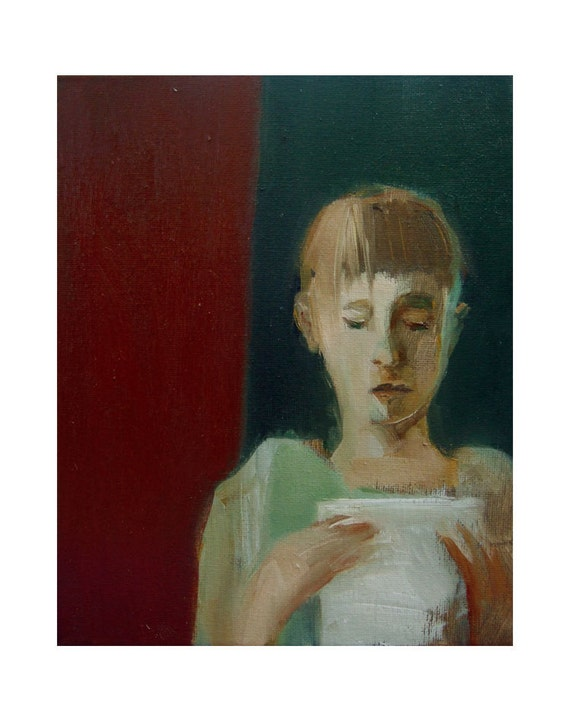 "SALE original painting,  figurative, GIRL with a LETTER, oil, canvas, 8"" x 10"""