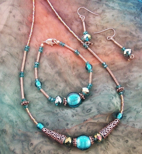 Vintage Honeymoon in Egypt - Aqua Blue Glass & Copper 3 Piece Necklace Set
