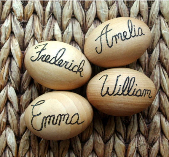 Personalized Wooden Eggs, Waldorf Toy Play Food Hen Eggs