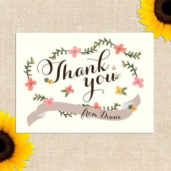 Carolina Thank You Cards DIY PRINTABLE