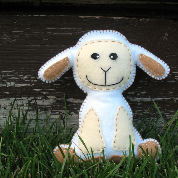 Stuffed Lamb PATTERN - Sew by Hand Plush Felt Stuffed Animal PDF - Easy to Make