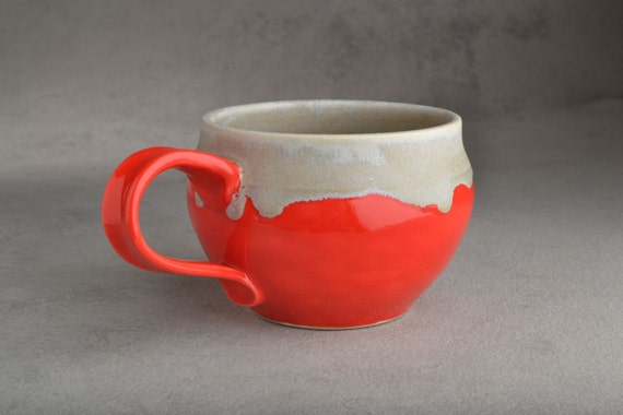 Mug : Red & Drippy Grey Stoneware Mug by Symmetrical Pottery