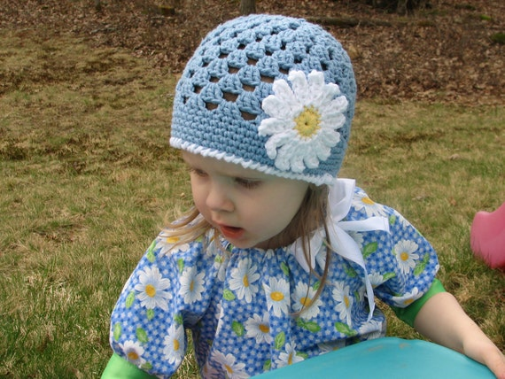 Spring Daisy Beanie Crochet Pattern  - 5 sizes included PDF 080 - Permission to Sell Finished Items