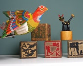 SALE Antique Toy Collection Tin Litho Mechanical Bird Building Blocks Push Puppet Cat - NowItsFound