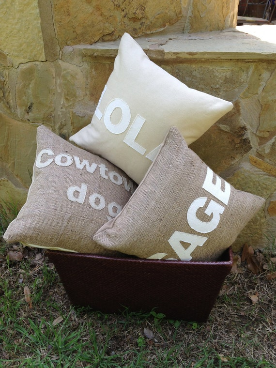 Burlap Pillow with custom name by theRedDogBarkery on Etsy