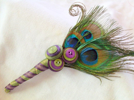 Peacock Feather Boutonniere with Buttons for Weddings, proms