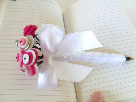 Button Bouquet Pen for Guest Book, Wedding