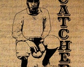 BASEBALL CATCHER Text SIGNALS Pitcher Sports Digital Collage Sheet Download Burlap Fabric Transfer Iron On Pillows Totes Tea Towels No. 3870 - Graphique