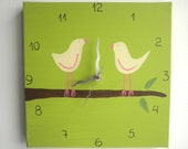 Love birds Wall clock- birds on a branch green and pink clock  -unique gift- canvas clock- Decorative  hand painted Square clock