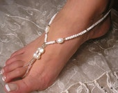 Happi Feet Handmade Pair Barefoot Sandals Nude Shoes with Glass Freshwater Pearls Beach Wedding Shoes HF1