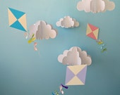 Large Hanging 3D Kites and Clouds (separates)/Baby Mobile/Nursery Mobile/Nursery Decor/Party Decor/Photo Prop - goshandgolly