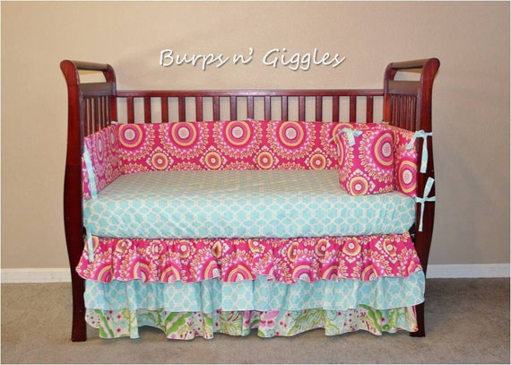 3 piece Custom Crib Bedding w 3 tiered skirt....you choose prints