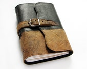 Handmade Leather Journal with buckle closure, 320 pages, lined paper - ArtStitch