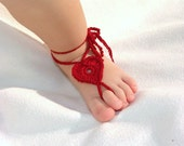 2 pairs Baby Heart Barefoot sandals, foot decoration, leg accessories, Baby shoes, Dark Red, Light Pink  Barefoot Sandals, Valentine's day - Lasunka