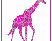 Hot Pink and Gray Giraffe Giclee 11x14 - thepinkpagoda