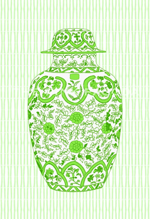 Lime Ming Chinoiserie Ginger Jar on Bamboo Stripe 11x14 Giclee