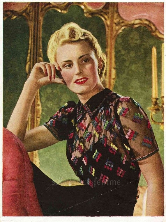 1940s pin-up sheer blouse, with embroidery - vintage sewing pattern PDF (422)