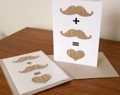 Greeting Card - Wood Grain Love Equation (moustache plus moustache)
