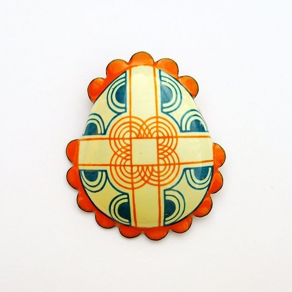Enamel Brooch - Pysanky Egg Jewellery - Pumpkin Orange