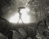 Black and white photography / rain / mood / fog /Magic Umbrella, 11 x 13 print - NicholasBellPhoto