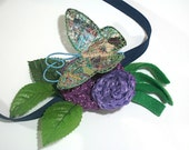 Spring Headband butterfly green leaves blue purple crochet circles flower nature cute hair accessory fabric grass fleece girl woman fairy - TUKON