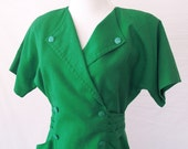 1980s Emerald Green Office Dress - Petite Small/Medium - CleoTheRio