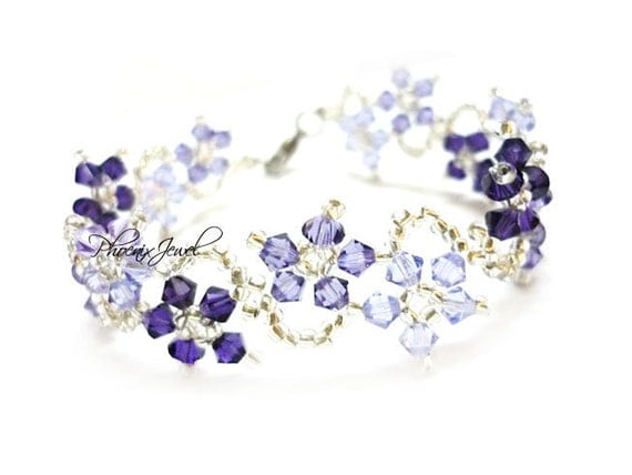 The Dance of Magic Flowers Swarovski Bracelet with Violet Purple Colorstyle - PJ230