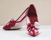 1950/60's Red Kid Leather  Stiletto Heel Shoe 'Sacha' London size 39 Made in Spain boxed - florasalika