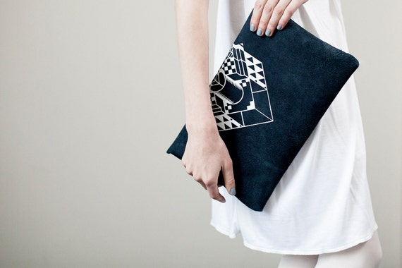 Envelope Bag Geometrical Illusion Leather Suede Navy Blue with White No. EB-101