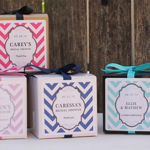 12 Chevron Design Personalized Favor Boxes - ANY COLOR - wedding favors, party favors, baby shower favors, bridal shower favors