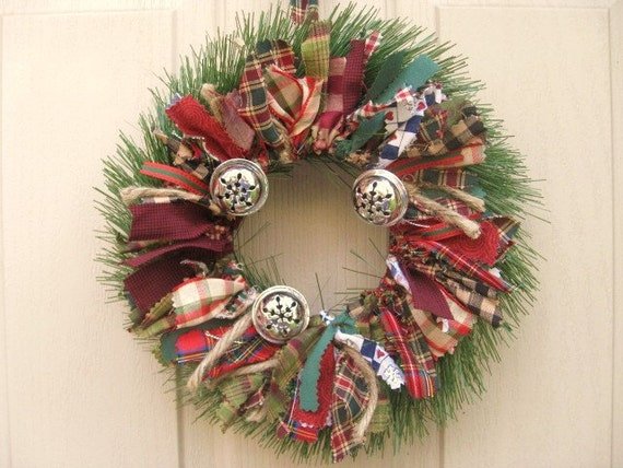 Holiday Wreath - Christmas Wreath - Jingle Bell Fabric Wreath