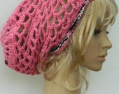 Slouchy Mesh Snood...In Pink And Multicolored Stripe.