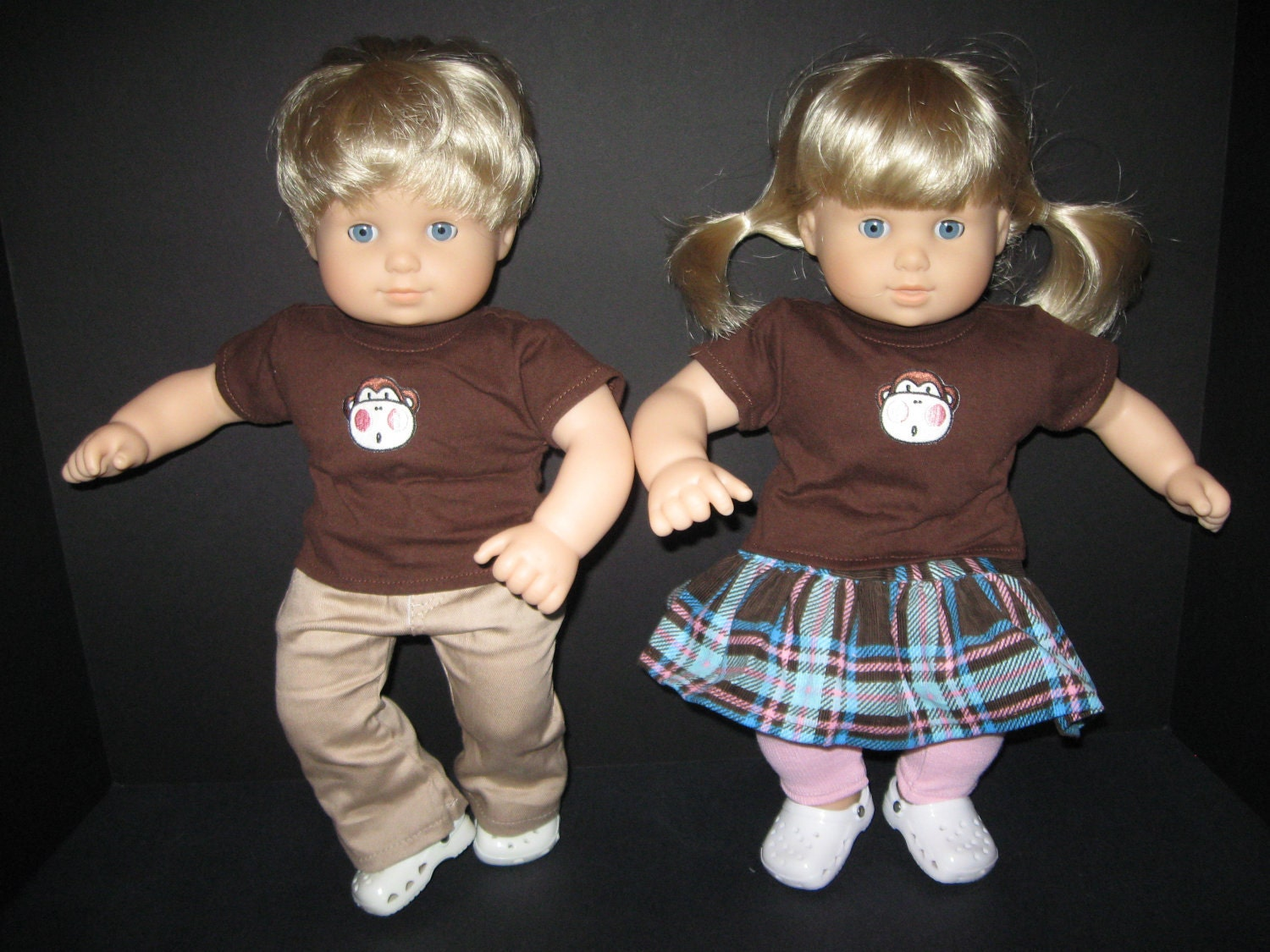 "AMERICAN GIRL BITTY bABY Twin Outfits 15"" Doll Monkey Matching Set"