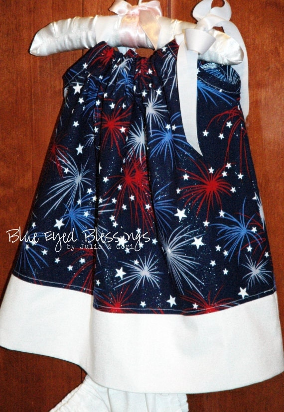 Little Miss Firecracker - Patriotic Red, White and Blue Boutique Pillowcase Dress