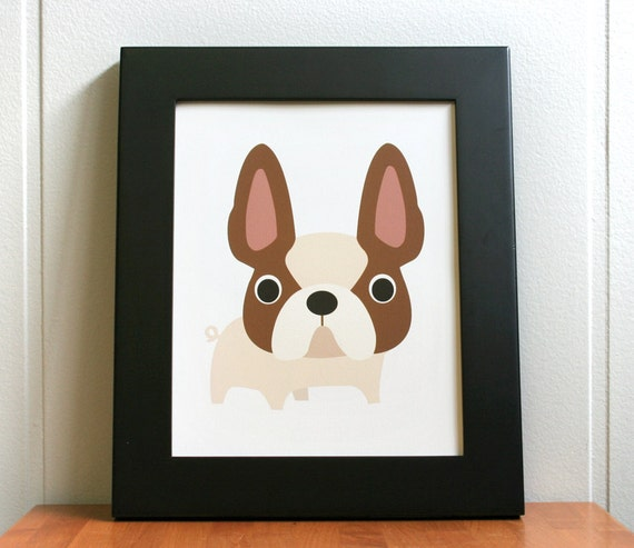 "Dog print, French Bulldog illustration. 8"" x 10"""