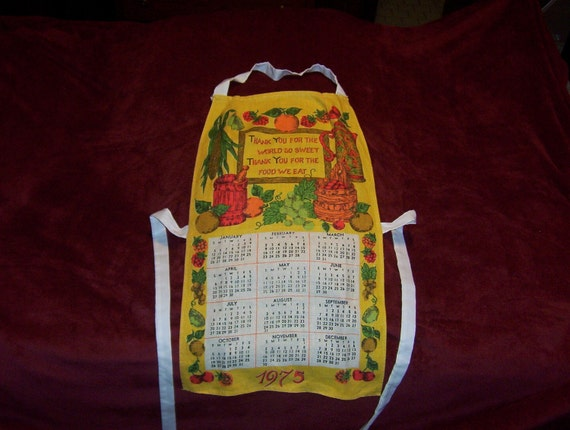 Vintage Linen Towel Calendar Apron Year 1975 Great Gift if this is a Memorible Year for One Includes Sweet Prayer Blessing