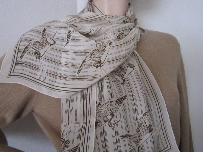 Anne Klein silk scarf with oriental birds by chicknhawk on Etsy Silk Scarves Oriental Designs