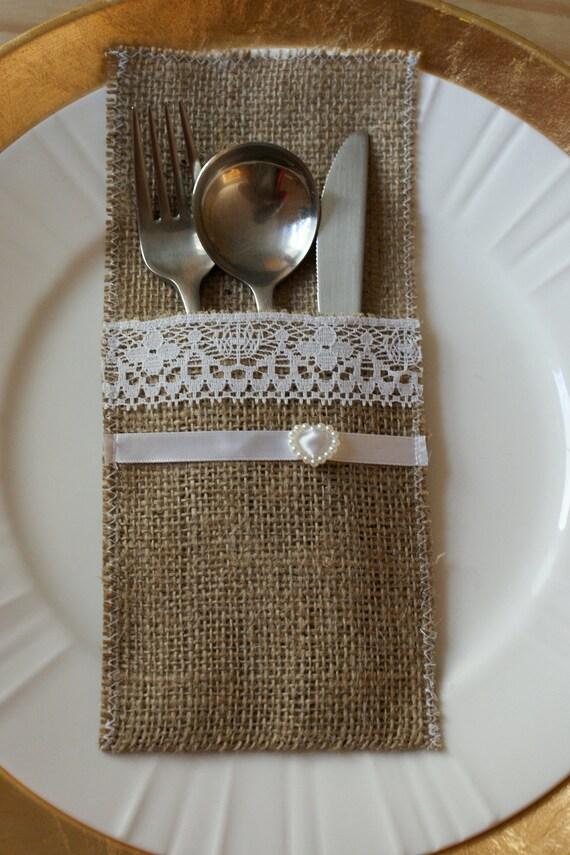Chaos In My Casa Burlap Cutlery Holders