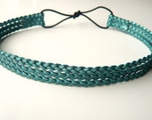 Teal-Braided Leather Headband-wedding, bridesmaids, hippie, boho, grecian - MonTravail