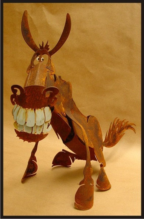 Donkey - 3D Metal Art Sculpture - Grinning Garden Decor