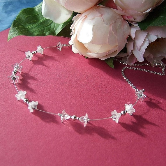 Wedding necklace, tiny white Lucite flowers, silver balls and chain