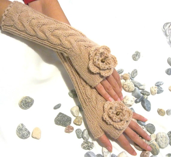 BEIGE LONG Fingerless Gloves with a flower