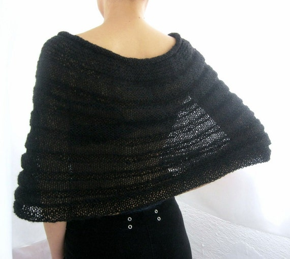 Black Knitted Bolero, Capelet with Black Flower