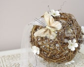 Butterfly Grapevine Pomander - Rustic Pomander - Kissing Ball - Pew decoration - Butterfly and Ivory flowers